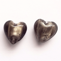 20 Black Silver Foiled Glass 12mm Heart Beads